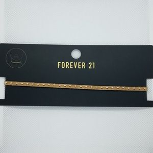 NWT Forever 21 Tan & Gold Choker Necklace